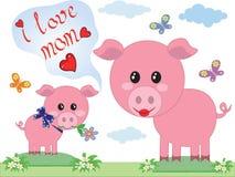 dzień matkuje świnie dwa ilustracja wektor