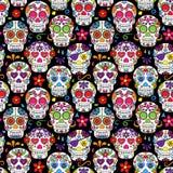 Dzień Nieżywej Cukrowej czaszki Bezszwowy Wektorowy tło