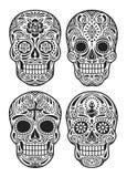 Dzień Nieżywej czaszki Wektorowy Ilustracyjny Ustawiający W Czarny I Biały Royalty Ilustracja