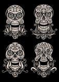 Dzień Nieżywy czaszka tatuażu wektoru set Obraz Stock