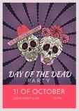 Dzień nieżywy partyjny plakatowy szablon z dwa cukrowymi czaszkami Zdjęcie Stock