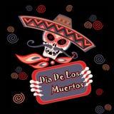 dzień nie żyje de muertos Dia Los dodatkowy karcianego formata wakacje wektor ilustracja wektor