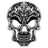 Dzień nieboszczyk, czaszka z kwiecistym ornamentem royalty ilustracja