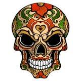 Dzień nieboszczyk, czaszka z kwiecistym ornamentem ilustracja wektor