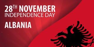 Dzień Niepodległości Albania Chorągwiany i Patriotyczny sztandar również zwrócić corel ilustracji wektora royalty ilustracja