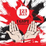 Dzień Niepodległości Egipt Lipiec 23rd Krajowy Patriotyczny wakacje wyzwolenie w afryce pólnocnej Otwiera ręki mężczyzna, a Royalty Ilustracja