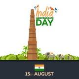 Dzień Niepodległości India również zwrócić corel ilustracji wektora 15th Sierpień Zdjęcie Royalty Free