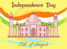 Dzień Niepodległości India 15th Sierpniowy Taj Mahal Ilustracja Wektor