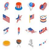 Dzień Niepodległości isometric 3d ikony Zdjęcie Royalty Free