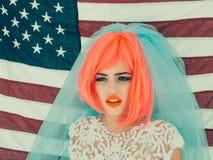 Dzień Niepodległości kobieta z flaga Obrazy Stock