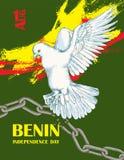 Dzień Niepodległości stan Benin Sierpień 1 Patriotyczny święto narodowe w kraju afrykańskim Biały gołąb ilustracji
