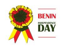 Dzień Niepodległości stan Benin Sierpień 1 Patriotyczny święto narodowe w kraju afrykańskim Cockarde royalty ilustracja