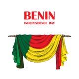 Dzień Niepodległości stan Benin Sierpień 1 Patriotyczny święto narodowe w kraju afrykańskim Draperia royalty ilustracja