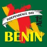 Dzień Niepodległości stan Benin Sierpień 1 Patriotyczny święto narodowe w kraju afrykańskim inskrypcje royalty ilustracja