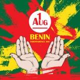 Dzień Niepodległości stan Benin Sierpień 1 Patriotyczny święto narodowe w kraju afrykańskim otwórz dłonie royalty ilustracja
