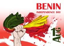 Dzień Niepodległości stan Benin Sierpień 1 Patriotyczny święto narodowe w kraju afrykańskim Ręka ilustracji