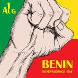 Dzień Niepodległości stan Benin Sierpień 1 Patriotyczny święto narodowe w kraju afrykańskim zaciskająca pięść ilustracji