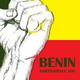 Dzień Niepodległości stan Benin Sierpień 1 Patriotyczny święto narodowe w kraju afrykańskim zaciskająca pięść royalty ilustracja