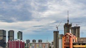 Dzień noc widok budowa w W centrum Singapur linii horyzontu zdjęcie wideo