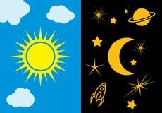 Dzień, nocy księżyc i słońce wektoru ilustracja i Zdjęcie Stock
