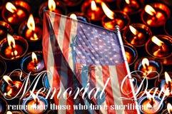 Dzień pamięci, flaga amerykańska na tle świeczki obrazy stock