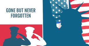 dzień pamięci wiadomość z statuą wolności i salutować żołnierza kontur z czerwonym co białym i błękitnym royalty ilustracja