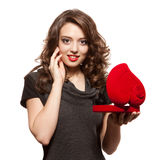 dzień prezenta dziewczyny szczęśliwy otwarcia s valentine Zdjęcie Stock