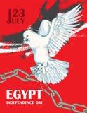 Dzień rewolucja w Egipt Lipiec 23rd Krajowy dzień niepodległości w Afryka Biel gołąbka nad łamanym łańcuchem ręka patroszona Ilustracja Wektor