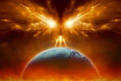 Dzień Sądu Ostatecznego, końcówka świat, zupełny zniszczenie planety ziemia obraz royalty free