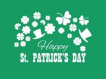 dzień szczęśliwy Patrick s st Leprechaun kapelusz i zieleń koniczynowi liście Świąteczny sztandar, kartka z pozdrowieniami Typogr ilustracja wektor