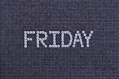 Dzień tygodnia, słowo PIĄTEK zrobi rhinestones krystaliczny kolor o Zdjęcie Royalty Free
