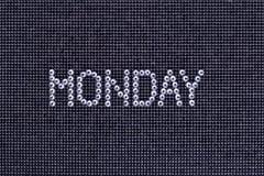 Dzień tygodnia, słowo PONIEDZIAŁEK zrobi rhinestones krystaliczny kolor o Zdjęcia Royalty Free