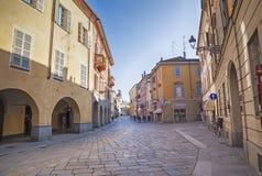 Dzień ulica w Parma, Włochy, fotografia stock