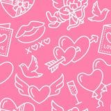 dzień valentines deseniowi bezszwowi Miłość, romansowe mieszkanie linii ikony - serca, czekolada, buziak, amorek, gołąbki, valent Obrazy Stock