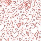 dzień valentines deseniowi bezszwowi Miłość, romansowe mieszkanie linii ikony - serca, czekolada, buziak, amorek, gołąbki, valent Fotografia Stock