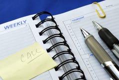dzień zauważa planisty pisać piszą obraz royalty free