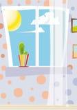 dzień kaktusowy okno Zdjęcia Royalty Free