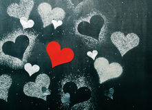 dzień karciany valentine s Rewolucjonistki papierowy serce na arkanie Zdjęcie Stock