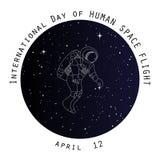dzień ludzkiego lota kosmicznego karciany projekt Zdjęcie Royalty Free