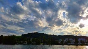 Dzień na jeziornym lucerene Zdjęcia Royalty Free