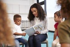 Dziecięca szkolna chłopiec wskazuje w książce trzymającej żeńskim nauczycielem, siedzi z dzieciakami w okręgu na krzesłach w sali zdjęcie stock