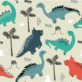 Dziecięcego dinosaura bezszwowy wzór dla mody odziewa, tkanina, t koszula Ręka rysujący wektor z literowaniem ilustracja wektor
