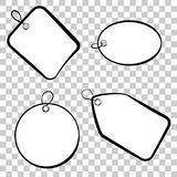 Dziecięcego etykietka prostokąta kwadrata okręgu owalny nakreślenie przy przejrzystym skutka tłem Obraz Stock