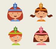 Dzieci Świętuje Hanukkah ilustracja wektor