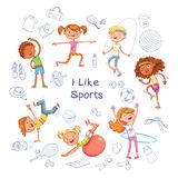 Dzieci angażują w różnych rodzajach sporty na tle różnorodny sporta wyposażenie ilustracji