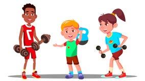 Dzieci Angażują W sprawności fizycznej W Gym wektorze sport Zdrowy button ręce s push odizolowana początku ilustracyjna kobieta ilustracji
