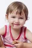 Dzieci apetyt i szczęście dla czekoladowego ciasta Zdjęcie Royalty Free