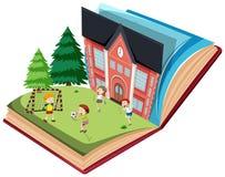 Dzieci bawić się futbol na otwartym książkowym szablonie ilustracja wektor