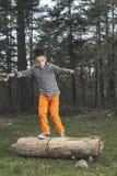 Dzieci bawią się w lesie obraz royalty free