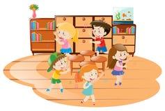 Dzieci bawić się muzyk krzesła w sala lekcyjnej ilustracja wektor